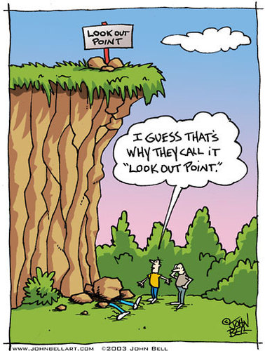 Cartoon: Look Out Point (medium) by JohnBellArt tagged look,out,point,fall,rocks,cliff,death,humor,irony,crush