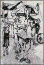 Cartoon: the walk (small) by yalisanda tagged walk market man girl asia vietnam gray quiet street sigaret paperstructure
