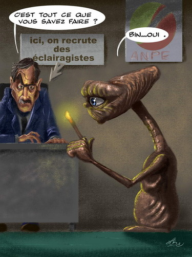 Cartoon: E.T. unemployed (medium) by FredCoince tagged et,unemployed,humor
