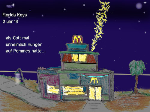 Cartoon: miracle (medium) by ab tagged pommes,frites,hunger,universum,herrgott,energie,nahrung,erde,florida