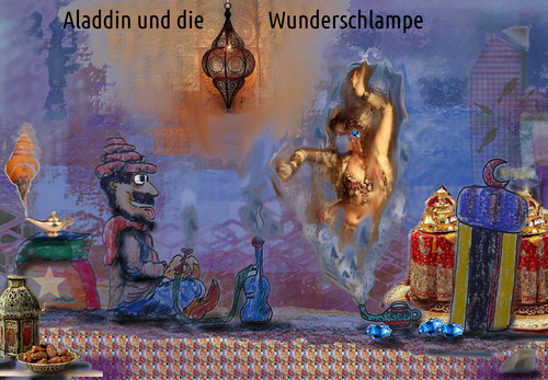 Cartoon: tausendundeine nacht (medium) by ab tagged aladdin,wunderlampe,märchen,1001,nacht
