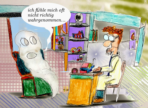 Cartoon: unrealistisch (medium) by ab tagged doktor,psychologe,geist,arzt
