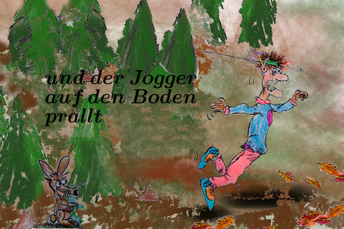 Cartoon: waidmanslyrik (medium) by ab tagged herbst,wald,jagd,jäger,jogger,gedicht