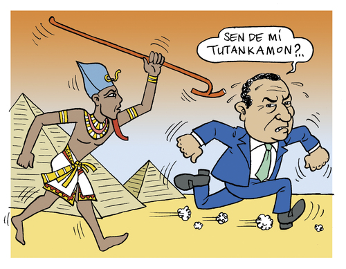 Cartoon: Tutankhamun (medium) by Tufan Selcuk tagged rebellion,arab,mobarak,egypt