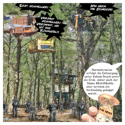 Cartoon: Hambacher Frust (medium) by Night Owl tagged hambacher,forst,polizei,polizist,fäkalien,wurf,würfe,braunkohle,tagebau,rodung,barrikade,baum,baumhaus,baumhäuser