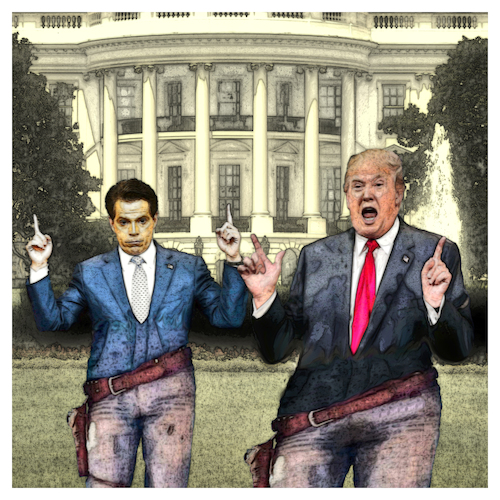 Cartoon: Straight Shooters (medium) by Night Owl tagged anthony,scaramucci,donald,trump,us,usa,präsident,kommunikationsdirektor,communications,director,kommunikationschef,weißes,haus,white,house,entlassung,removal,gefeuert,fired,the,mooch