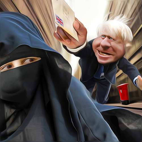Cartoon: Avant la lettre (medium) by Bart van Leeuwen tagged boris,burka,letterbox,islam,uk