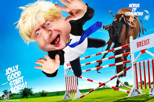 Cartoon: Backed the wrong horse (medium) by Bart van Leeuwen tagged boris,johnson,brexit,no,deal,parliament,house,of,commons,horse
