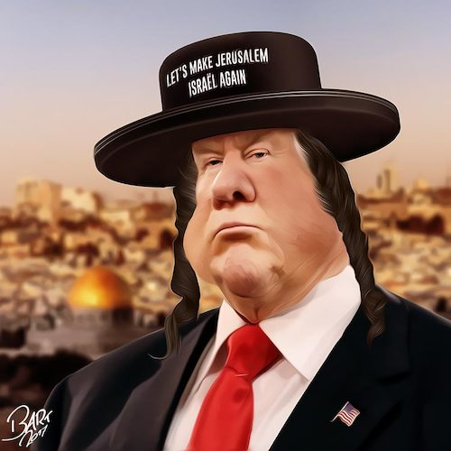 Cartoon: Judenstern (medium) by Bart van Leeuwen tagged trump,jerusalem,israel,palestina