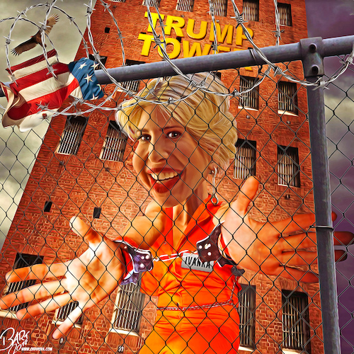 Cartoon: Lock Ivanka up (medium) by Bart van Leeuwen tagged ivanka,lock,her,up,trump,email,private,personal,crooked