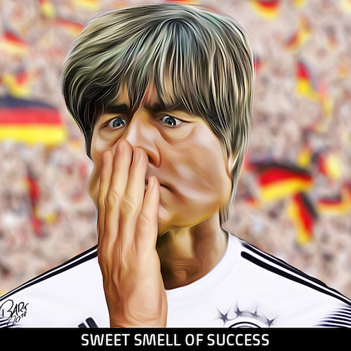 Cartoon: Sweet smell of success (medium) by Bart van Leeuwen tagged jogi,low,deuchland,weltmeister,wk2018,russia,mannschaft,germany
