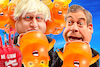 Cartoon: Afterparty (small) by Bart van Leeuwen tagged trump,uk,visit,nigal,farage,boris,johnson,baby,balloon