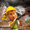Cartoon: Construction worker (small) by Bart van Leeuwen tagged gilets,jaunus,yellow,vests,paris,riots,macron