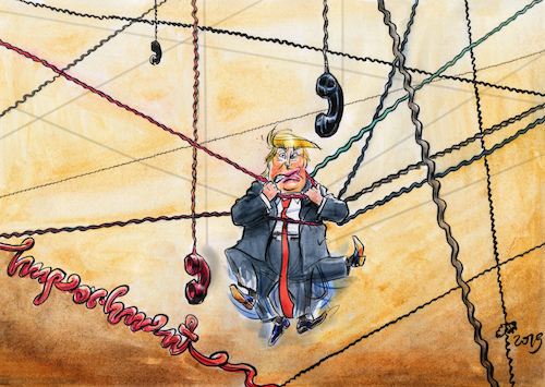 Cartoon: The Telephonist (medium) by Paolo Calleri tagged usa,potus,president,praesident,vereinigte,staaten,us,donald,trump,russland,ukraine,affaere,telefonate,hilfe,wahlkampf,joe,hunter,biden,impeachment,amt,amtsenthebung,verfahren,amtsenthebungsverfahren,demokraten,republikaner,whistleblower,daten,karikatur,cartoon,paolo,calleri,usa,potus,president,praesident,vereinigte,staaten,us,donald,trump,russland,ukraine,affaere,telefonate,hilfe,wahlkampf,joe,hunter,biden,impeachment,amt,amtsenthebung,verfahren,amtsenthebungsverfahren,demokraten,republikaner,whistleblower,daten,karikatur,cartoon,paolo,calleri