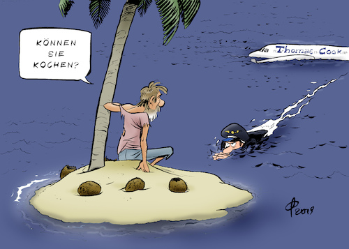 Cartoon: Thomas-Cook-Pleite (medium) by Paolo Calleri tagged welt,tourismus,wirtschaft,konzern,reisen,thomas,cook,pleite,insolvenz,insolvent,reisende,urlauber,karikatur,cartoon,paolo,calleri,welt,tourismus,wirtschaft,konzern,reisen,thomas,cook,pleite,insolvenz,insolvent,reisende,urlauber,karikatur,cartoon,paolo,calleri