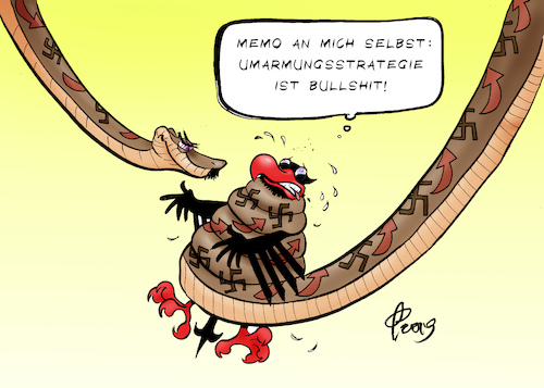 Cartoon: Umarmungsstrategie (medium) by Paolo Calleri tagged deutschland,halle,saale,rechtsextremismus,nationalismus,nazis,neonazis,amok,synagoge,judentum,juden,hass,gewalt,tote,verharmlosung,terror,gefahr,recht,afd,hetzer,alternative,fuer,karikatur,plattform,talkshows,entzauberung,cartoon,paolo,calleri,deutschland,halle,saale,rechtsextremismus,nationalismus,nazis,neonazis,amok,synagoge,judentum,juden,hass,gewalt,tote,verharmlosung,terror,gefahr,recht,afd,hetzer,alternative,fuer,karikatur,plattform,talkshows,entzauberung,cartoon,paolo,calleri