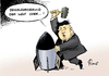 Cartoon: Denuklearisierung (small) by Paolo Calleri tagged nordkorea,parteikongress,machthaber,fuehrer,kim,jong,un,atomwaffen,denuklearisierung,atomraketen,atomtests,glaubwuerdigkeit,karikatur,cartoon,paolo,calleri