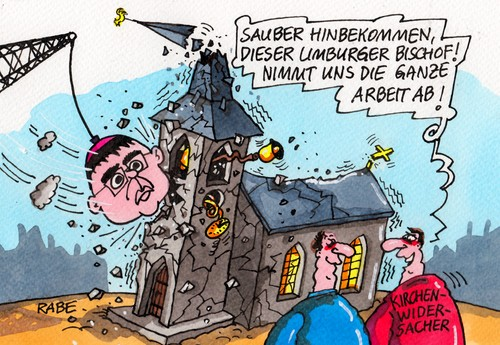 Cartoon: Bischofsbirne (medium) by RABE tagged bischof,bischofssitz,limburg,baukosten,abrissbirne,kirche,papst,rom,vatikan,audienz,tebartz,van,elst,franziskus,millionen,bischofskonferenz,zollitzsch,rabe,ralf,böhme,cartoon,karikatur,pressezeichnung,farbcartoon,kirchengegner,kirchenwidersacher,kirchenfeinde,bischof,bischofssitz,limburg,baukosten,abrissbirne,kirche,papst,rom,vatikan,audienz,tebartz,van,elst,franziskus,millionen,bischofskonferenz,zollitzsch,rabe,ralf,böhme,cartoon,karikatur,pressezeichnung,farbcartoon,kirchengegner,kirchenwidersacher,kirchenfeinde