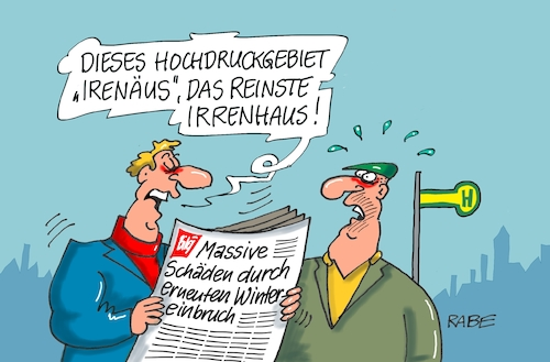 Cartoon: Irrenhaus (medium) by RABE tagged kälte,kältewelle,kältefront,polarluft,klima,rabe,ralf,böhme,cartoon,karikatur,pressezeichnung,farbcartoon,tagescartoon,spolarluft,witterung,irenäus,hochdruckgebiet,kälte,kältewelle,kältefront,polarluft,klima,rabe,ralf,böhme,cartoon,karikatur,pressezeichnung,farbcartoon,tagescartoon,spolarluft,witterung,irenäus,hochdruckgebiet