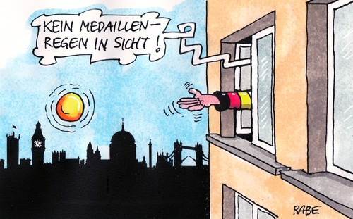 Cartoon: Medaillenregen (medium) by RABE tagged london,olympiade,medaillen,medallienregen,goldmedaille,sieger,siegerpotest,gewinner,winner,wettkämpfe,mannschaft,mannschaftsunterkünfte,wetter,regen,regenschauer,nebel,fenster,skyline,tower,towerbridge,doping,sportler,medaillenspiegel,london,olympiade