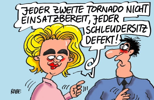 Cartoon: Schleudersitz (medium) by RABE tagged rabe,luftangriffe,stellungen,is,syrien,alianz,kampfflieger,tornadojet,jagdflieger,tornado,verteidigungsministerin,soldaten,bundeswehr,leyen,der,von,tagescartoon,farbcartoon,pressezeichnung,karikatur,cartoon,böhme,ralf