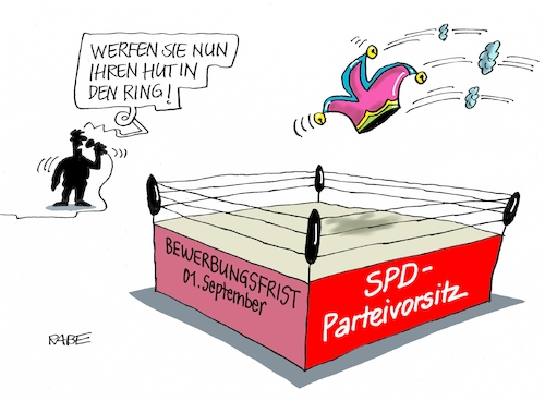 Cartoon: SPD Parteivorsitz (medium) by RABE tagged nahles,spd,sozialdemokraten,groko,umfragetief,scholz,rabe,ralf,böhme,cartoon,karikatur,pressezeichnung,farbcartoon,tagescartoon,ruine,koalition,koalitionsvetrag,bruch,drahtseil,union,cdu,prügelknaben,parteivorsitz,bewerbungsfrist,september,hut,ring,boxring,narrenkappe,nahles,spd,sozialdemokraten,groko,umfragetief,scholz,rabe,ralf,böhme,cartoon,karikatur,pressezeichnung,farbcartoon,tagescartoon,ruine,koalition,koalitionsvetrag,bruch,drahtseil,union,cdu,prügelknaben,parteivorsitz,bewerbungsfrist,september,hut,ring,boxring,narrenkappe