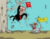Cartoon: Erdogan Satire (small) by RABE tagged erdogan,türkei,ankara,außenministerium,botschafter,satire,ndr,politsatire,staatschef,rabe,ralf,böhme,cartoon,karikatur,pressezeichnung,farbcartoon,tagescartoon,maus,baum,menschenrechte,narrenkappe,angst