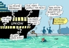 Cartoon: Unionskahn (small) by RABE tagged flüchtlinge,union,csu,seehofer,merkel,schäuble,flüchtlingskrise,syrien,familien,parteienstreit,altmaier,kanzlerin,rabe,ralf,böhme,cartoon,karikatur,pressezeichnung,farbcartoon,tagescartoon,schiff,hafen,hafenbecken,bounty,meuterei