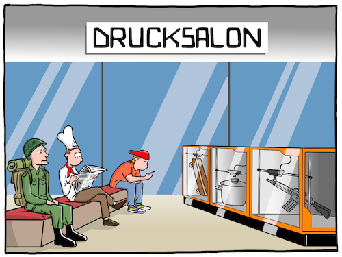 Cartoon: Der Drucksalon (medium) by CloudScience tagged 3d,drucker,drucken,industrie,produktion,logistik,wirtschaft,handel,konsum,herstellungsverfahren,it,technologie,technik,gadget,tech,zukunft,disruption,transformation,retail,daten,koch,soldat,waffe,business,produktivitaet,cartoon,waschsalon,herstellung,3d,drucker,drucken,industrie,produktion,logistik,wirtschaft,handel,konsum,herstellungsverfahren,it,technologie,technik,gadget,tech,zukunft,disruption,transformation,retail,daten,koch,soldat,waffe,business,produktivitaet,cartoon,waschsalon,herstellung