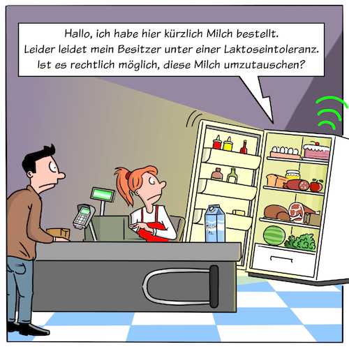 Cartoon: Smart Home Kühlschrank (medium) by CloudScience tagged kuehlschrank,smart,home,it,iot,internet,der,dinge,ki,intelligenz,autonom,bestellung,online,handel,ecoomerce,juria,rechtliches,supermarkt,kasse,cartoon,zukunft,retail,daten,big,data,laktoseintoleranz,wirtschaft,business,digital,digitalisierung,tech,technologie,supermarktkassemilchbestellung,sensoren,moeller,illustration,disruption,transformation,kassiererin,automatisierung,automatisch,kuehlschrank,smart,home,it,iot,internet,der,dinge,ki,intelligenz,autonom,bestellung,online,handel,ecoomerce,juria,rechtliches,supermarkt,kasse,cartoon,zukunft,retail,daten,big,data,laktoseintoleranz,wirtschaft,business,digital,digitalisierung,tech,technologie,supermarktkassemilchbestellung,sensoren,moeller,illustration,disruption,transformation,kassiererin,automatisierung,automatisch