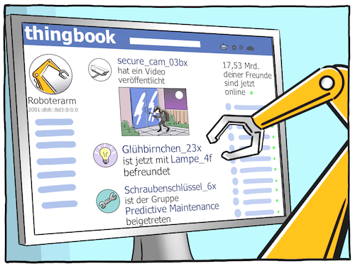 Cartoon: Thingbook (medium) by CloudScience tagged iot,soziales,netzwerk,internet,der,dinge,of,things,digitalisierung,digital,smart,intelligenz,ki,ai,intelligent,industrie,40,wirtschaft,predictive,maintenance,it,technologie,tech,technik,sensoren,vernetzung,vernetzt,zukunft,future,iot,soziales,netzwerk,internet,der,dinge,of,things,digitalisierung,digital,smart,intelligenz,ki,ai,intelligent,industrie,40,wirtschaft,predictive,maintenance,it,technologie,tech,technik,sensoren,vernetzung,vernetzt,zukunft,future