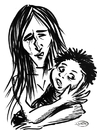 Cartoon: Mother and son (small) by DeVaTe tagged peruvian,mother,son,madre,maternidad,pobreza,poor,indian