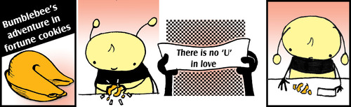 Cartoon: Be Yourself The Fortune Cookie (medium) by thetoonist tagged love,fortune,random,cookie,bees,rejection