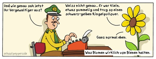 Cartoon: Schoolpeppers 139 (medium) by Schoolpeppers tagged polizei,blumen,vergewaltigung