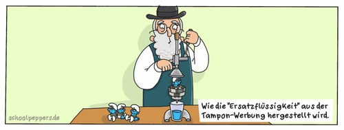 Cartoon: Schoolpeppers 155 (medium) by Schoolpeppers tagged schlümpfe,vader,abraham,tampon,werbung