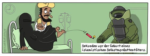 Cartoon: Schoolpeppers 279 (medium) by Schoolpeppers tagged islamismus,attentat,sprengstoff