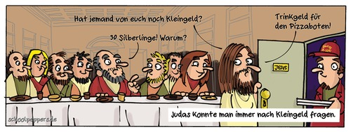 Cartoon: Schoolpeppers 321 (medium) by Schoolpeppers tagged jesus,essen,pizza,religion,abendmahl,jünger,geld