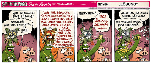 Cartoon: Schweinevogel Lösung (medium) by Schweinevogel tagged schwarwel,short,novel,funny,comic,comicstrip,schweinevogel,swampie,iron,doof,ausserirdische,kommunikation,bier,haustiere,sid,pinkel,umerziehung,sozialschmarotzer,lösung,frieden
