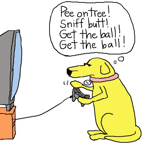 Cartoon: dog video game (medium) by mfarmand tagged dog,video,dogvideogame,tv,playstation2,nintendo