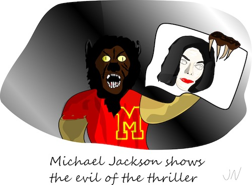 Cartoon: Halloween (medium) by Jochen N tagged halloween,michael,jackson,thriller,horror,grusel,böse,werwolf,kostüm,verkleidung