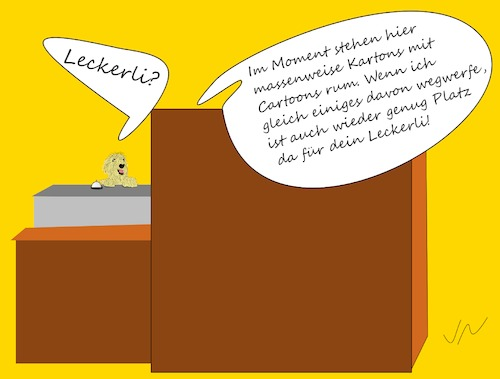 Cartoon: Lecker Cartoon (medium) by Jochen N tagged leckerli,hund,hunger,fressen,laden,klingel,glocke,kunde,papier,cartoons,karton,wegwerfen,entsorgen,müll