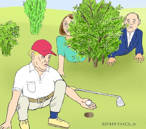 Cartoon: Foul Play Res. in Disqualificat. (medium) by Barthold tagged launch,impeachment,inquiry,nancy,pelosi,house,representatives,speaker,adam,schiff,intelligence,committee,donald,trump,hole,wedge,commander,cheat,rick,reilly,golfing,foul,play,disqualification