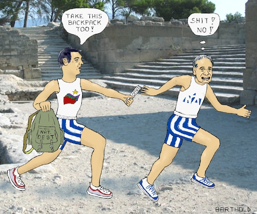 Cartoon: Greek Parliam. Election 2019 (medium) by Barthold tagged greece,parliament,elections,july,2019,syriza,alexis,tsipras,nea,dimokratia,kyriakos,mitsotakis,relay,race,baton,backpack,rucksack,pass,antique,site,national,debt,burden,office,function,prime,minister