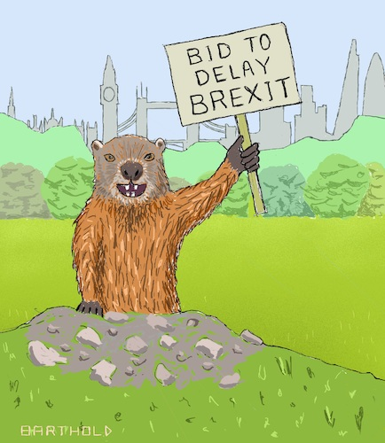 Cartoon: Groundhog Day (medium) by Barthold tagged brexit,further,extension,delay,boris,johnson,prime,minister,three,month,originally,end,october,parliament,marmot,deja,vu