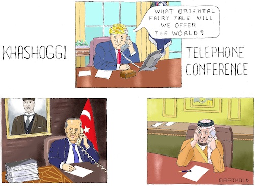 Cartoon: Khashoggi Telephone Conference (medium) by Barthold tagged crown,prince,mohammed,bin,salman,recep,tayyip,erdogan,donald,trump,telephone,conference,saudi,arabia,jamal,khashoggi,murder,consulate,istanbul,crime,human,rights,violation,fairy,tale,official,version,pawn,sacrifice,common,investigation,report