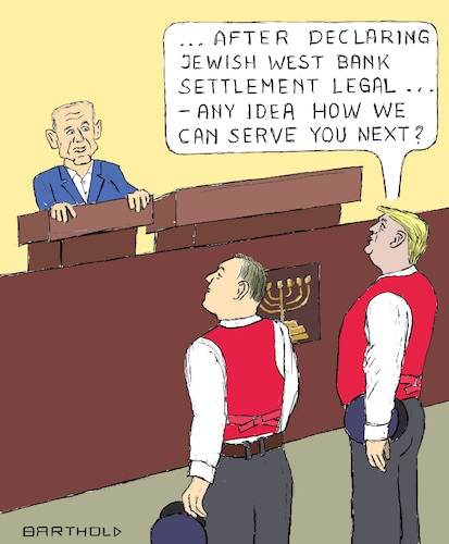 Cartoon: Netanyahu and his Footmen (medium) by Barthold tagged benjamin,netanyahu,mike,pompeo,secretary,state,donald,trump,footmen,knesset,red,vest,legalization,jewish,settlement,west,bank,breaking,violating,international,law,un,resolution,2334,usa,israel