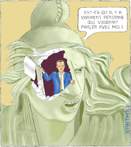 Cartoon: Protestation des Gilets Jaunes (medium) by Barthold tagged protestation,mouvement,gilets,jaunes,paris,france,arc,de,triomphe,plastique,marianne,vandalisee,mutilee,emmanuel,macron,president,francais,drapeau,blanc,interlocuteur,isolement