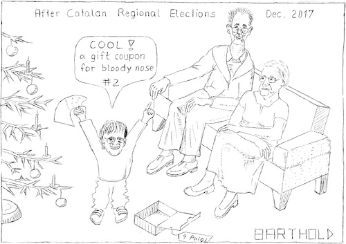Cartoon: Puigi happy ab. his X-mas gifts (medium) by Barthold tagged spain,catalonia,catalan,regional,elections,december,2017,independence,separatism,separation,article,155,mario,rajoy,carles,puigdemont,xavier,parents,nuria,casamajo,gift,coupon,bloody,nose,christmas,tree