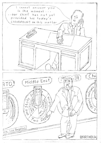 Cartoon: Trump Decision-Making (medium) by Barthold tagged trump,spicer,decisionmaking,wheeloffortune,whitehouse