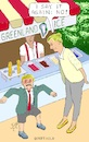 Cartoon: Quarrel at the Ice Cream Stand (small) by Barthold tagged donald,trump,president,united,states,bid,buy,greenland,mette,frederiksen,prime,minister,denmark,ice,cream,stand,naughty,boy,fart,furor,cancellation,visit